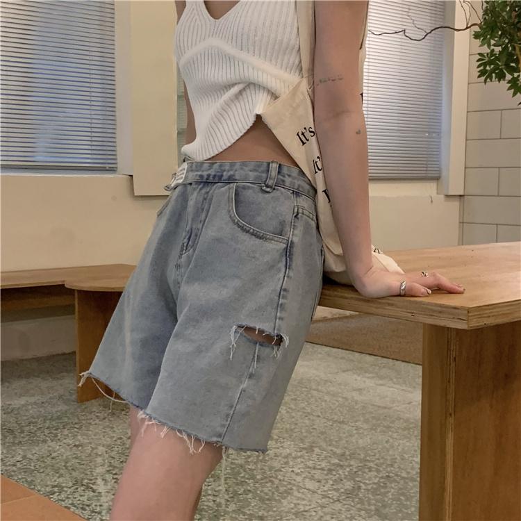 韓国 ファッション パンツ ショート ボトムス 春 夏 カジュアル PTXK553  カットオフデニム ダメージ アシメ ゆったり オルチャン シンプル 定番 セレカジの写真10枚目