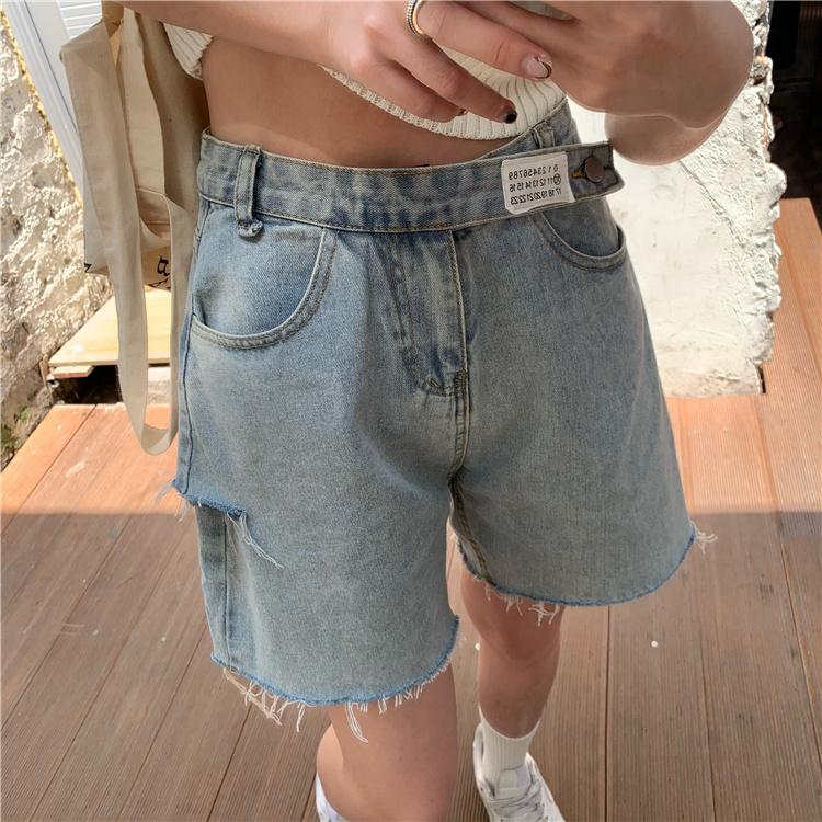 韓国 ファッション パンツ ショート ボトムス 春 夏 カジュアル PTXK553  カットオフデニム ダメージ アシメ ゆったり オルチャン シンプル 定番 セレカジの写真11枚目
