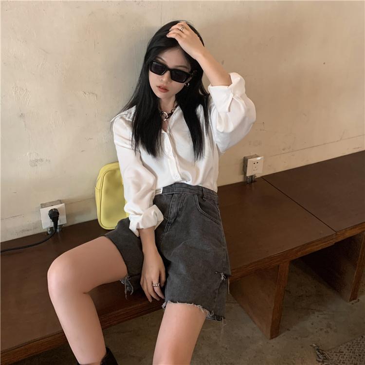 韓国 ファッション パンツ ショート ボトムス 春 夏 カジュアル PTXK553  カットオフデニム ダメージ アシメ ゆったり オルチャン シンプル 定番 セレカジの写真13枚目