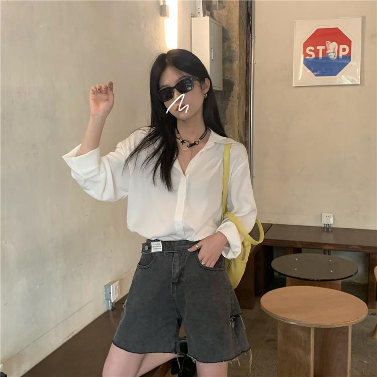 韓国 ファッション パンツ ショート ボトムス 春 夏 カジュアル PTXK553  カットオフデニム ダメージ アシメ ゆったり オルチャン シンプル 定番 セレカジの写真14枚目