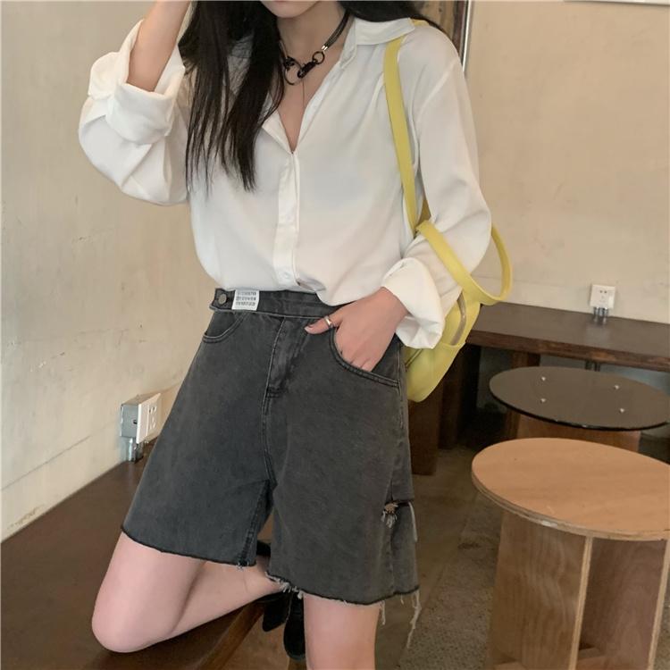 韓国 ファッション パンツ ショート ボトムス 春 夏 カジュアル PTXK553  カットオフデニム ダメージ アシメ ゆったり オルチャン シンプル 定番 セレカジの写真15枚目