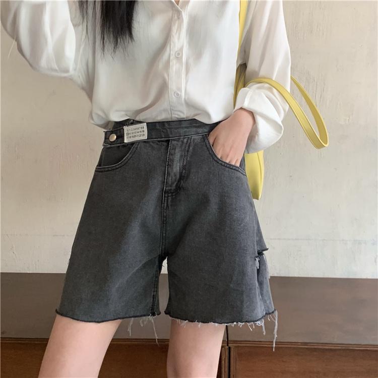 韓国 ファッション パンツ ショート ボトムス 春 夏 カジュアル PTXK553  カットオフデニム ダメージ アシメ ゆったり オルチャン シンプル 定番 セレカジの写真16枚目