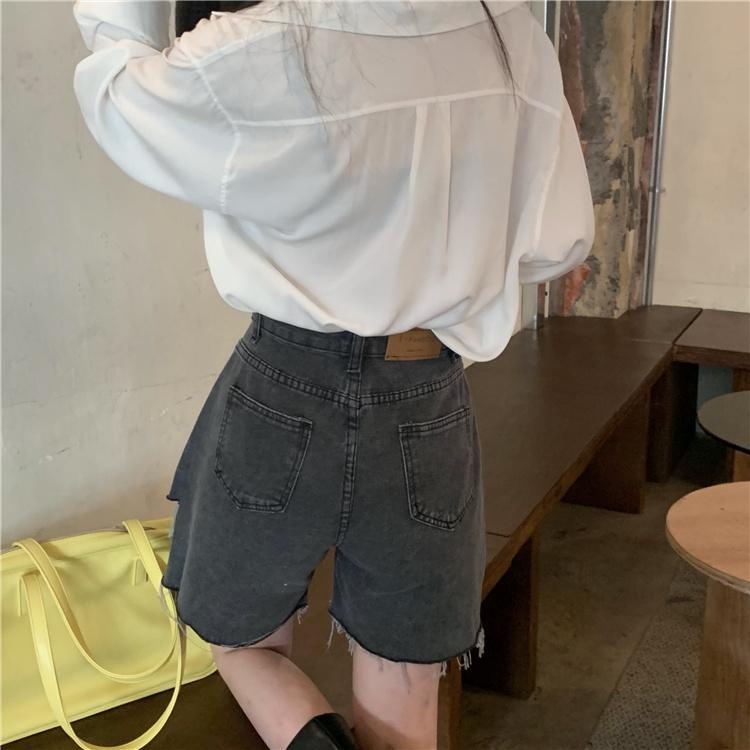韓国 ファッション パンツ ショート ボトムス 春 夏 カジュアル PTXK553  カットオフデニム ダメージ アシメ ゆったり オルチャン シンプル 定番 セレカジの写真20枚目