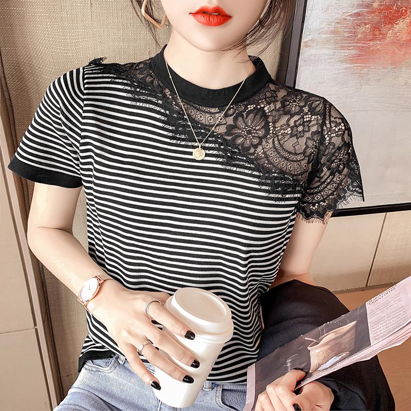 韓国 ファッション トップス Tシャツ カットソー 春 夏 カジュアル PTXK589  スカラップ レース シースルー リブ 重ね着 オルチャン シンプル 定番 セレカジの写真4枚目