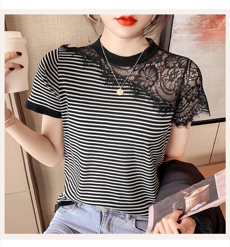 韓国 ファッション トップス Tシャツ カットソー 春 夏 カジュアル PTXK589  スカラップ レース シースルー リブ 重ね着 オルチャン シンプル 定番 セレカジの写真6枚目