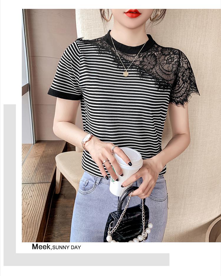 韓国 ファッション トップス Tシャツ カットソー 春 夏 カジュアル PTXK589  スカラップ レース シースルー リブ 重ね着 オルチャン シンプル 定番 セレカジの写真7枚目