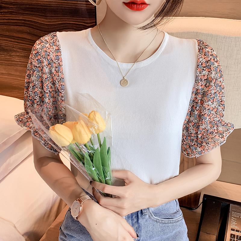 韓国 ファッション トップス ニット セーター 春 夏 カジュアル PTXK592  パフスリーブ 異素材ミックス ブラウス風 オルチャン シンプル 定番 セレカジの写真2枚目