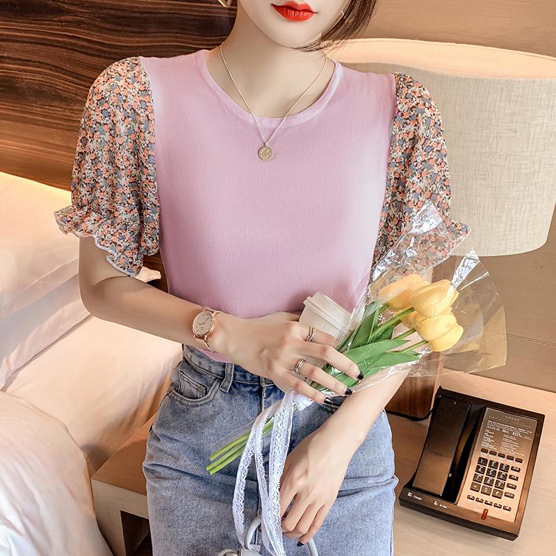 韓国 ファッション トップス ニット セーター 春 夏 カジュアル PTXK592  パフスリーブ 異素材ミックス ブラウス風 オルチャン シンプル 定番 セレカジの写真3枚目