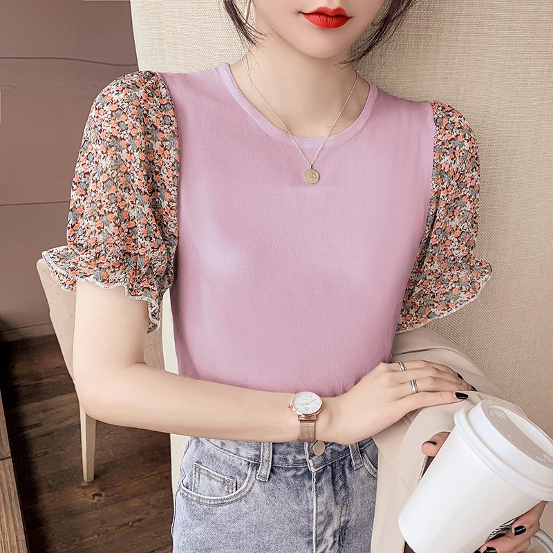 韓国 ファッション トップス ニット セーター 春 夏 カジュアル PTXK592  パフスリーブ 異素材ミックス ブラウス風 オルチャン シンプル 定番 セレカジの写真4枚目