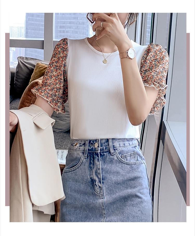 韓国 ファッション トップス ニット セーター 春 夏 カジュアル PTXK592  パフスリーブ 異素材ミックス ブラウス風 オルチャン シンプル 定番 セレカジの写真6枚目
