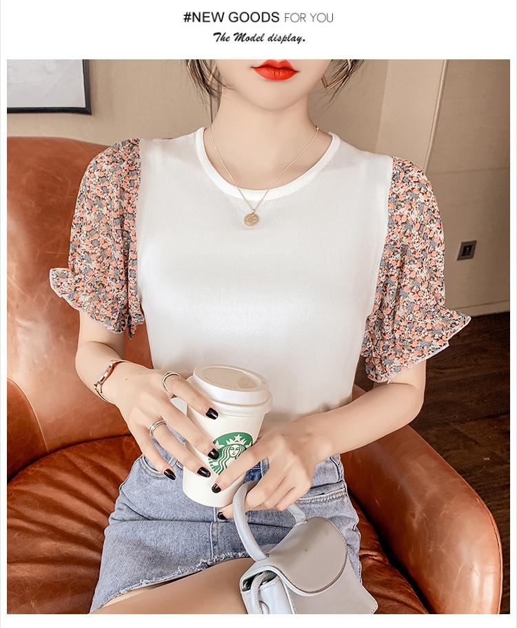 韓国 ファッション トップス ニット セーター 春 夏 カジュアル PTXK592  パフスリーブ 異素材ミックス ブラウス風 オルチャン シンプル 定番 セレカジの写真7枚目