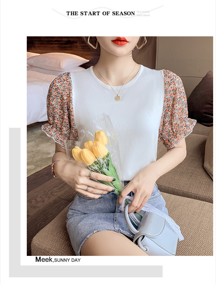 韓国 ファッション トップス ニット セーター 春 夏 カジュアル PTXK592  パフスリーブ 異素材ミックス ブラウス風 オルチャン シンプル 定番 セレカジの写真8枚目
