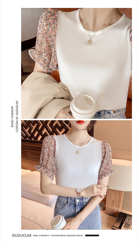 韓国 ファッション トップス ニット セーター 春 夏 カジュアル PTXK592  パフスリーブ 異素材ミックス ブラウス風 オルチャン シンプル 定番 セレカジの写真10枚目