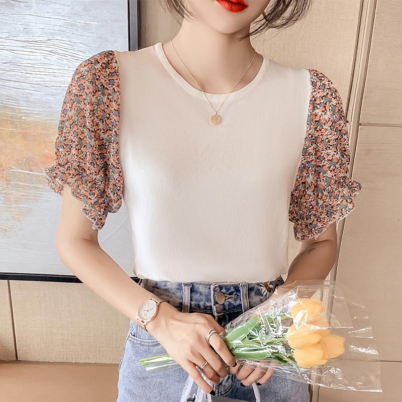 韓国 ファッション トップス ニット セーター 春 夏 カジュアル PTXK592  パフスリーブ 異素材ミックス ブラウス風 オルチャン シンプル 定番 セレカジの写真11枚目