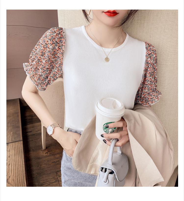 韓国 ファッション トップス ニット セーター 春 夏 カジュアル PTXK592  パフスリーブ 異素材ミックス ブラウス風 オルチャン シンプル 定番 セレカジの写真12枚目