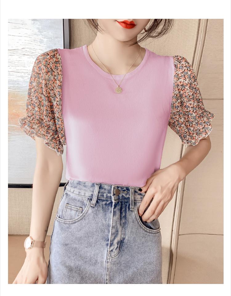 韓国 ファッション トップス ニット セーター 春 夏 カジュアル PTXK592  パフスリーブ 異素材ミックス ブラウス風 オルチャン シンプル 定番 セレカジの写真14枚目