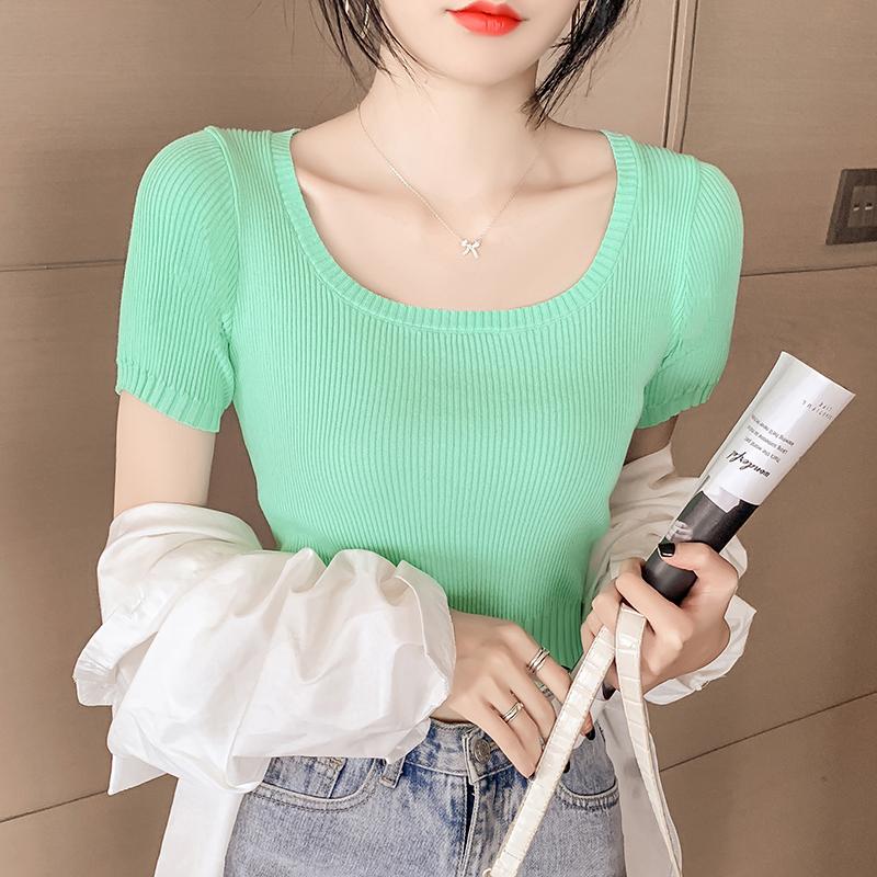 韓国 ファッション トップス ニット セーター 春 夏 カジュアル PTXK599  デコルテ見せ リブ サマーニット 着回し オルチャン シンプル 定番 セレカジの写真3枚目