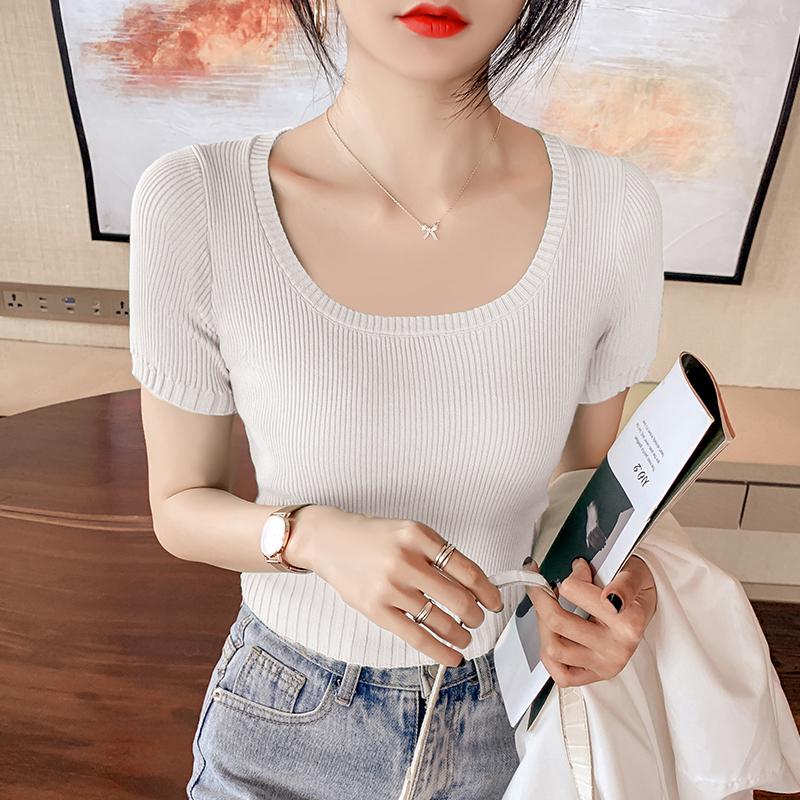 韓国 ファッション トップス ニット セーター 春 夏 カジュアル PTXK599  デコルテ見せ リブ サマーニット 着回し オルチャン シンプル 定番 セレカジの写真6枚目