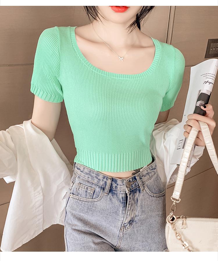 韓国 ファッション トップス ニット セーター 春 夏 カジュアル PTXK599  デコルテ見せ リブ サマーニット 着回し オルチャン シンプル 定番 セレカジの写真9枚目