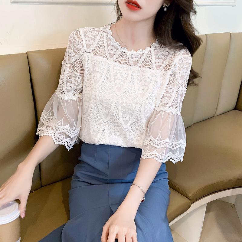 韓国 ファッション トップス ブラウス シャツ 春 夏 カジュアル PTXK834  ベルスリーブ シースルー スカラップ レース オルチャン シンプル 定番 セレカジの写真2枚目