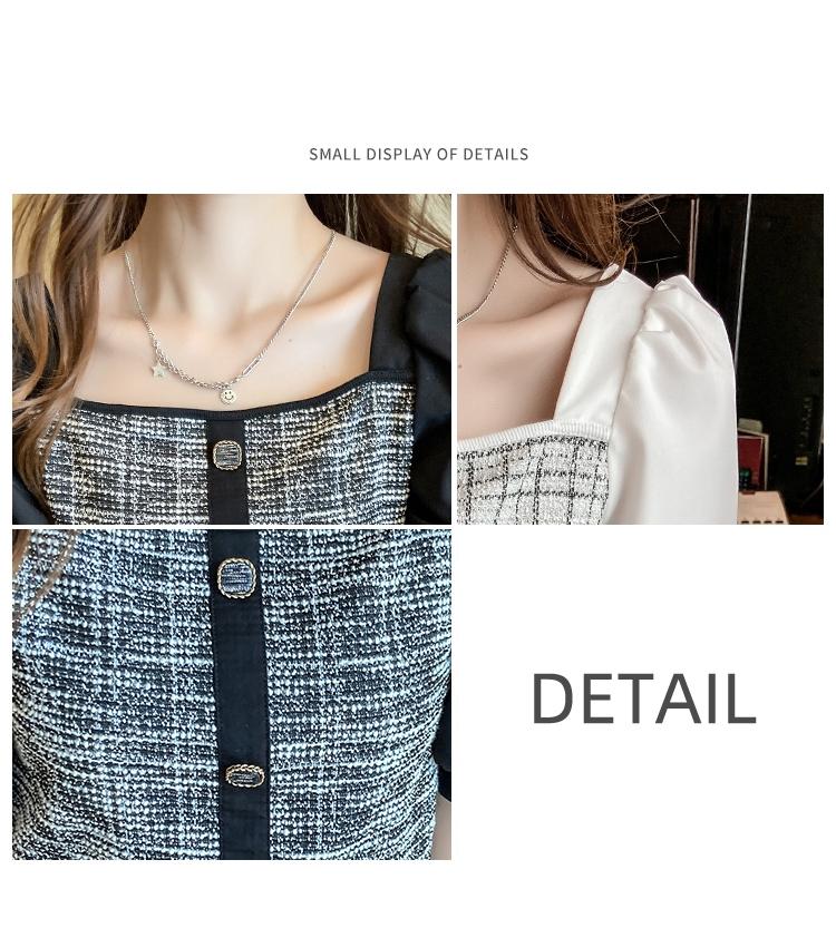 韓国 ファッション トップス ブラウス シャツ 春 夏 カジュアル PTXK841  パフスリーブ フロントボタン ツイード風 オルチャン シンプル 定番 セレカジの写真7枚目