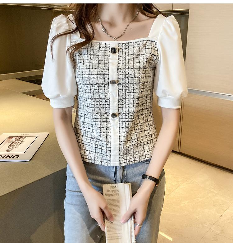 韓国 ファッション トップス ブラウス シャツ 春 夏 カジュアル PTXK841  パフスリーブ フロントボタン ツイード風 オルチャン シンプル 定番 セレカジの写真12枚目