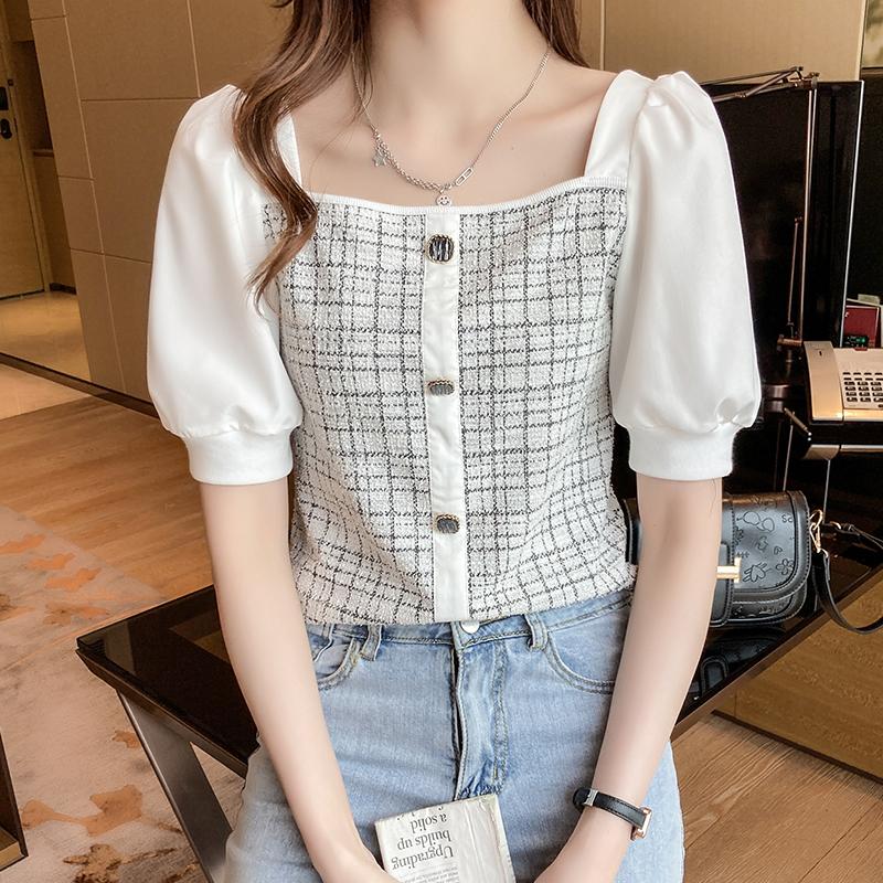 韓国 ファッション トップス ブラウス シャツ 春 夏 カジュアル PTXK841  パフスリーブ フロントボタン ツイード風 オルチャン シンプル 定番 セレカジの写真14枚目