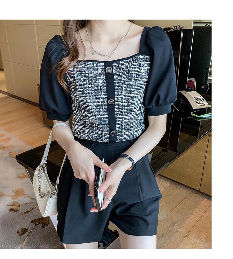 韓国 ファッション トップス ブラウス シャツ 春 夏 カジュアル PTXK841  パフスリーブ フロントボタン ツイード風 オルチャン シンプル 定番 セレカジの写真18枚目