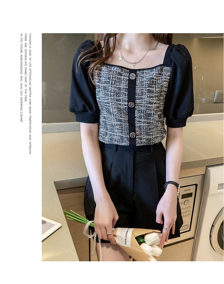 韓国 ファッション トップス ブラウス シャツ 春 夏 カジュアル PTXK841  パフスリーブ フロントボタン ツイード風 オルチャン シンプル 定番 セレカジの写真20枚目