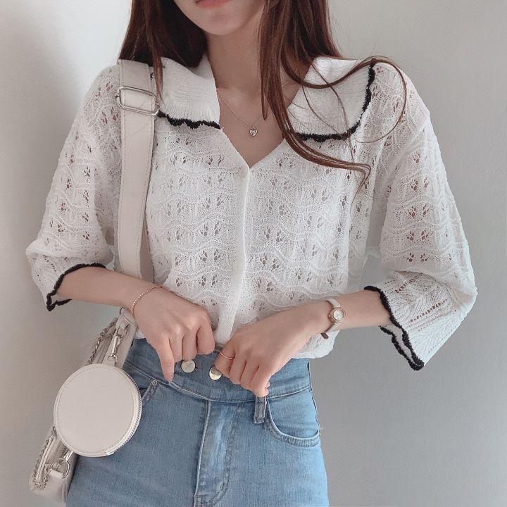 韓国 ファッション トップス カーディガン 春 夏 カジュアル PTXK870  透かし編みニット モノトーン 七分袖 オルチャン シンプル 定番 セレカジの写真2枚目