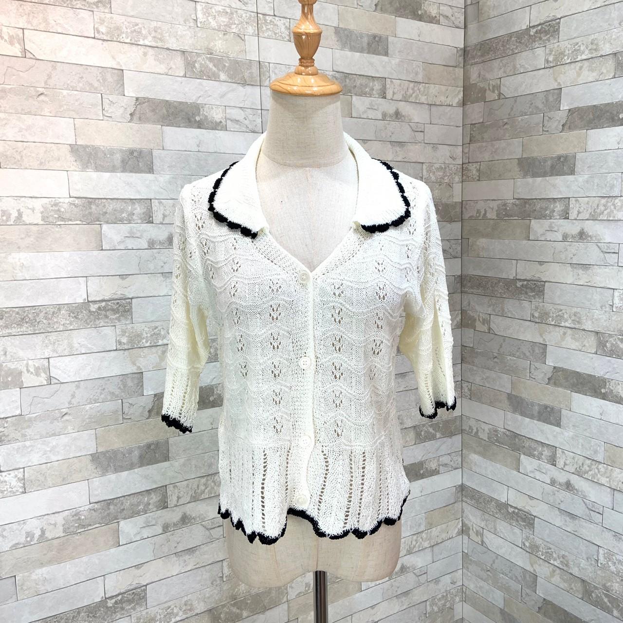 韓国 ファッション トップス カーディガン 春 夏 カジュアル PTXK870  透かし編みニット モノトーン 七分袖 オルチャン シンプル 定番 セレカジの写真10枚目