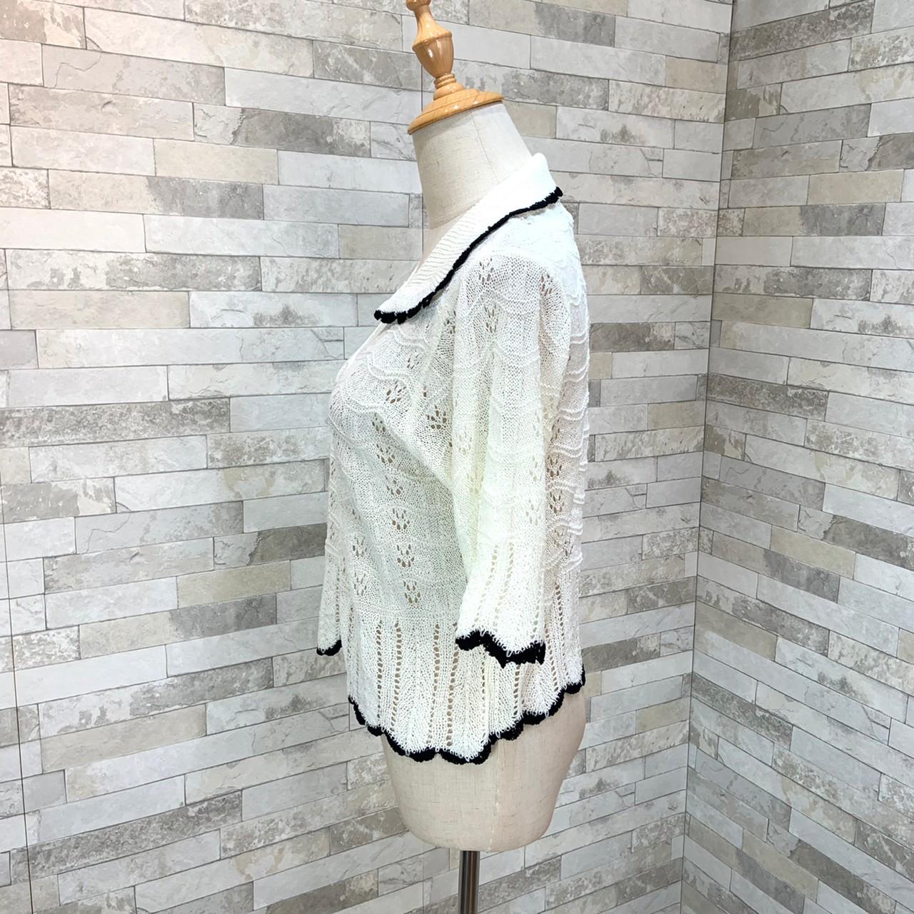 韓国 ファッション トップス カーディガン 春 夏 カジュアル PTXK870  透かし編みニット モノトーン 七分袖 オルチャン シンプル 定番 セレカジの写真11枚目