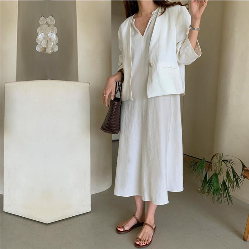 韓国 ファッション ワンピース 春 夏 カジュアル PTXK913  背中見せ ギャザー ゆったり ナチュラル オルチャン シンプル 定番 セレカジの写真5枚目
