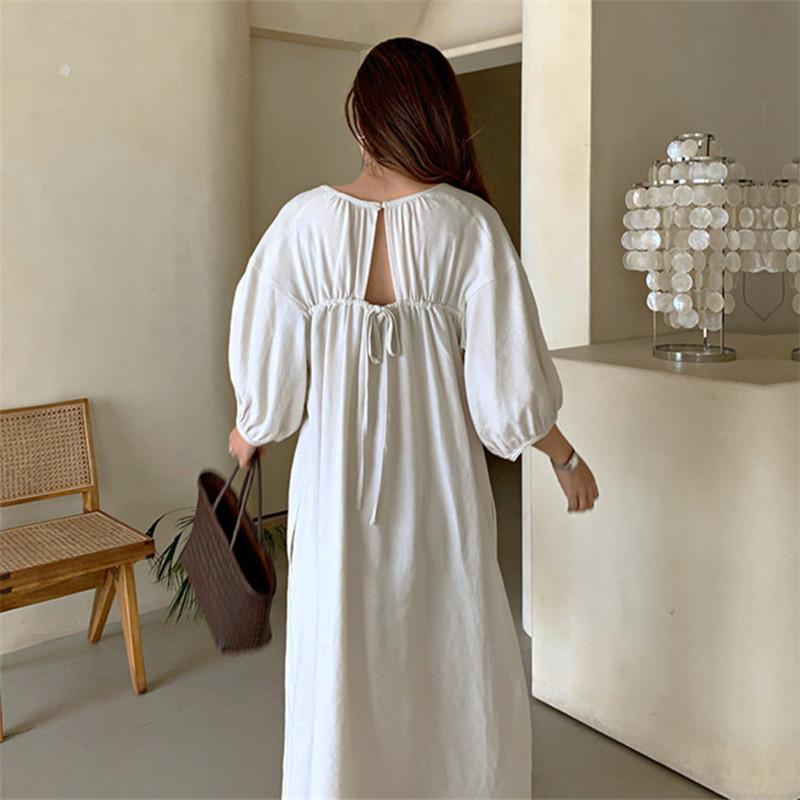 韓国 ファッション ワンピース 春 夏 カジュアル PTXK913  背中見せ ギャザー ゆったり ナチュラル オルチャン シンプル 定番 セレカジの写真13枚目