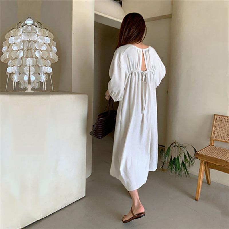 韓国 ファッション ワンピース 春 夏 カジュアル PTXK913  背中見せ ギャザー ゆったり ナチュラル オルチャン シンプル 定番 セレカジの写真15枚目