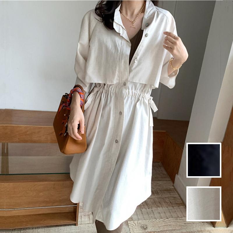韓国 ファッション アウター コート 春 夏 カジュアル PTXK915  スタンドカラー ウエストシェイプ 羽織り ラフ オルチャン シンプル 定番 セレカジの写真1枚目