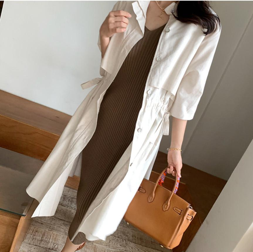 韓国 ファッション アウター コート 春 夏 カジュアル PTXK915  スタンドカラー ウエストシェイプ 羽織り ラフ オルチャン シンプル 定番 セレカジの写真4枚目