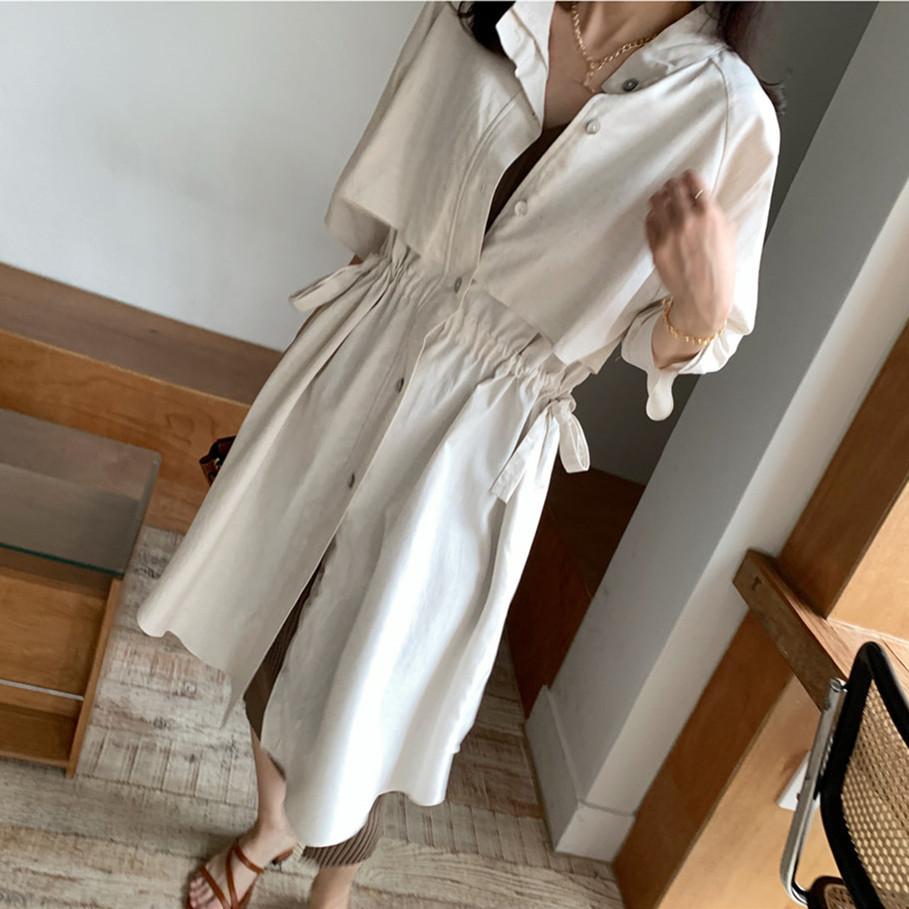 韓国 ファッション アウター コート 春 夏 カジュアル PTXK915  スタンドカラー ウエストシェイプ 羽織り ラフ オルチャン シンプル 定番 セレカジの写真5枚目
