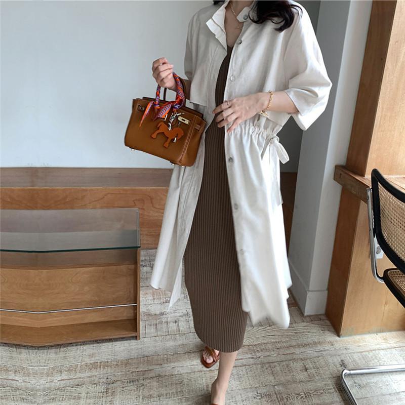 韓国 ファッション アウター コート 春 夏 カジュアル PTXK915  スタンドカラー ウエストシェイプ 羽織り ラフ オルチャン シンプル 定番 セレカジの写真9枚目