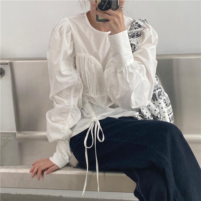 韓国 ファッション トップス ブラウス シャツ 春 夏 秋 カジュアル PTXL388  ハイウエスト 切替 ギャザー パフスリーブ オルチャン シンプル 定番 セレカジの写真3枚目