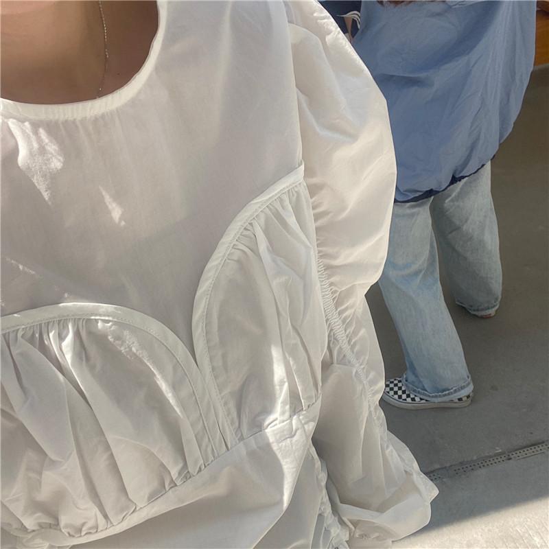 韓国 ファッション トップス ブラウス シャツ 春 夏 秋 カジュアル PTXL388  ハイウエスト 切替 ギャザー パフスリーブ オルチャン シンプル 定番 セレカジの写真12枚目