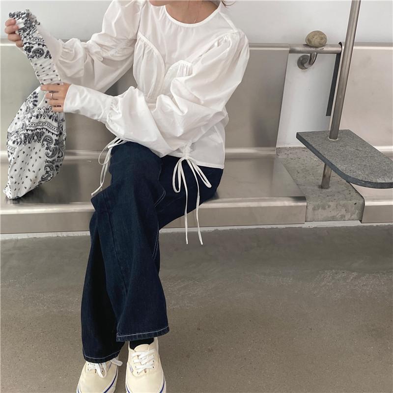 韓国 ファッション トップス ブラウス シャツ 春 夏 秋 カジュアル PTXL388  ハイウエスト 切替 ギャザー パフスリーブ オルチャン シンプル 定番 セレカジの写真17枚目