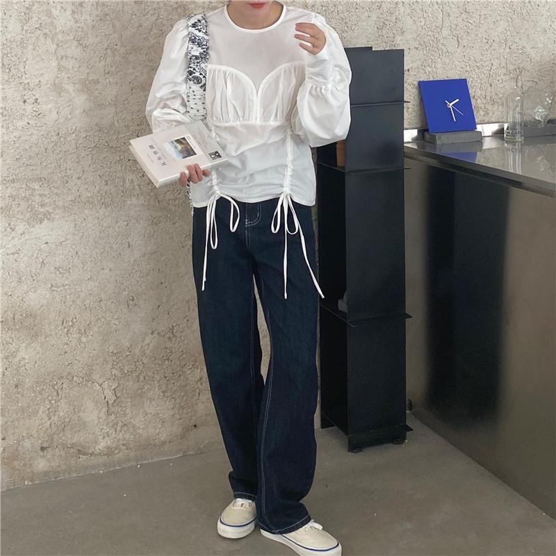 韓国 ファッション トップス ブラウス シャツ 春 夏 秋 カジュアル PTXL388  ハイウエスト 切替 ギャザー パフスリーブ オルチャン シンプル 定番 セレカジの写真20枚目