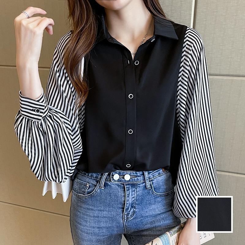 韓国 ファッション トップス ブラウス シャツ 春 秋 冬 カジュアル PTXL448  ボリューム袖 ドレープ オーバーサイズ オルチャン シンプル 定番 セレカジの写真1枚目