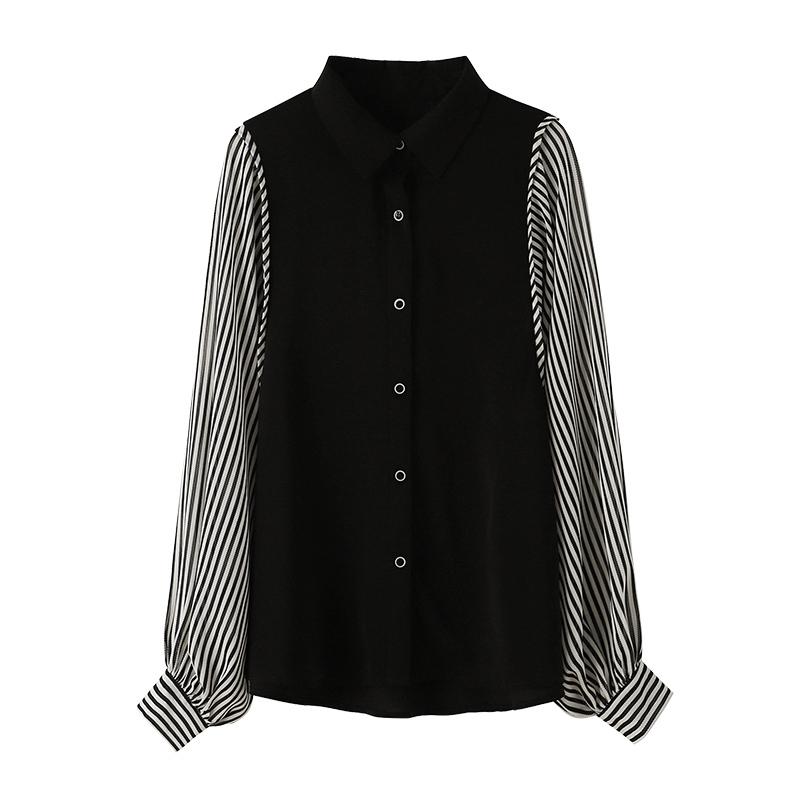 韓国 ファッション トップス ブラウス シャツ 春 秋 冬 カジュアル PTXL448  ボリューム袖 ドレープ オーバーサイズ オルチャン シンプル 定番 セレカジの写真5枚目