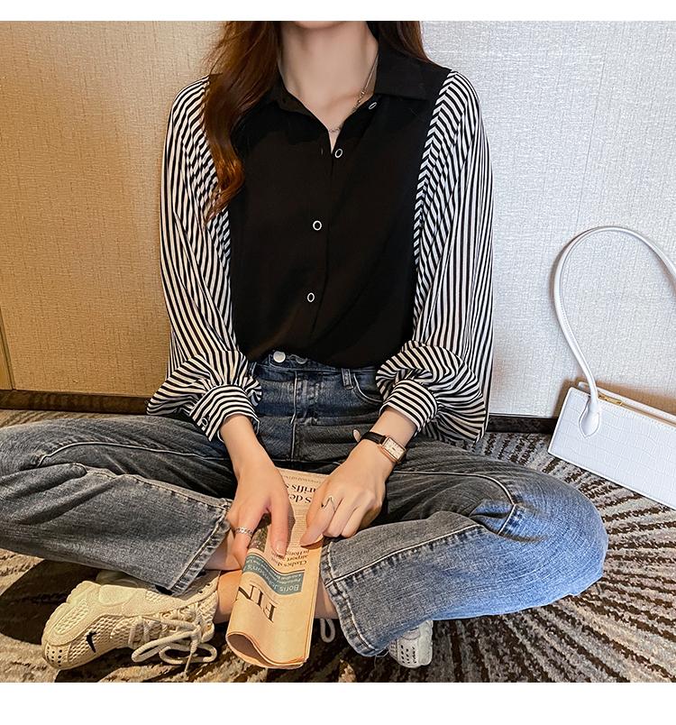 韓国 ファッション トップス ブラウス シャツ 春 秋 冬 カジュアル PTXL448  ボリューム袖 ドレープ オーバーサイズ オルチャン シンプル 定番 セレカジの写真8枚目