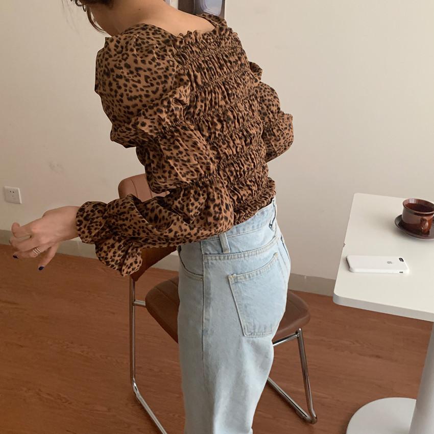 韓国 ファッション トップス ブラウス シャツ 春 秋 冬 カジュアル PTXL483  ベイクドカラー ギャザー クロップド 肌見せ オルチャン シンプル 定番 セレカジの写真13枚目