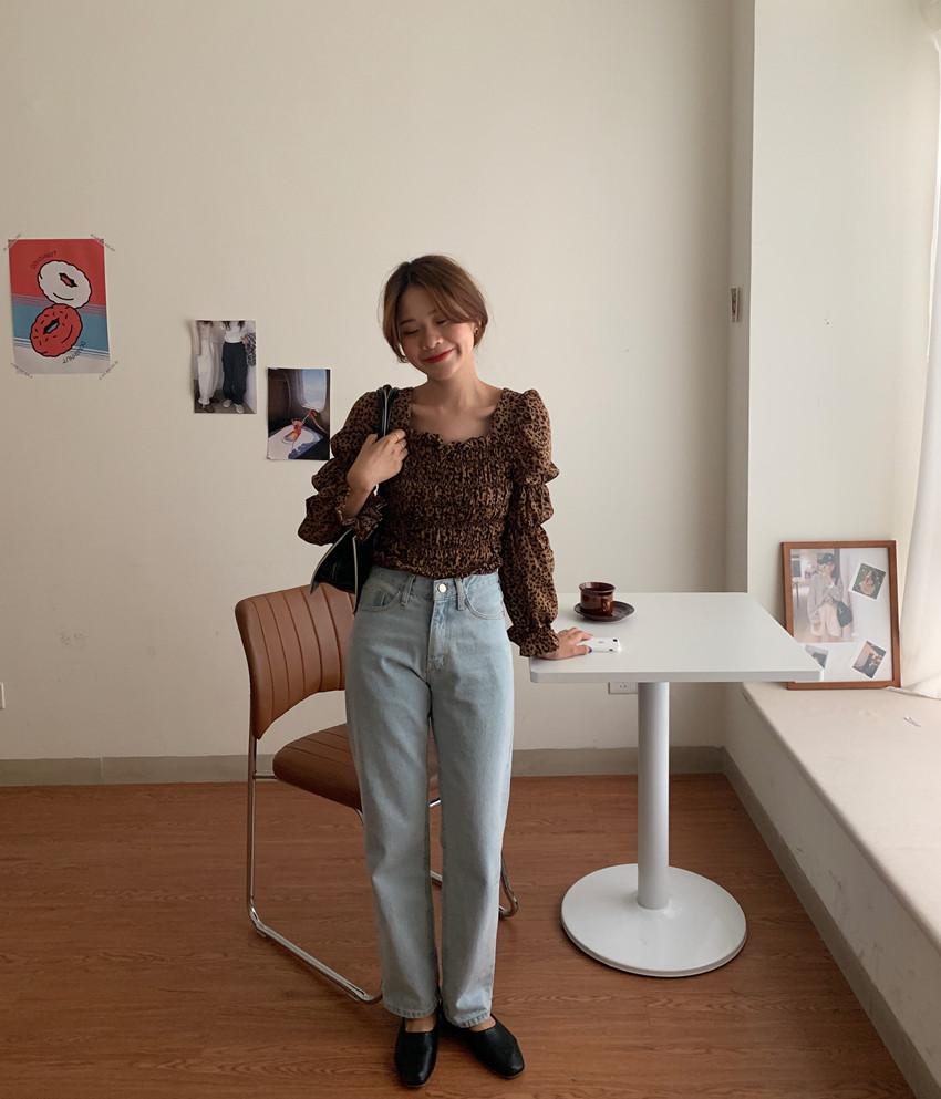 韓国 ファッション トップス ブラウス シャツ 春 秋 冬 カジュアル PTXL483  ベイクドカラー ギャザー クロップド 肌見せ オルチャン シンプル 定番 セレカジの写真20枚目