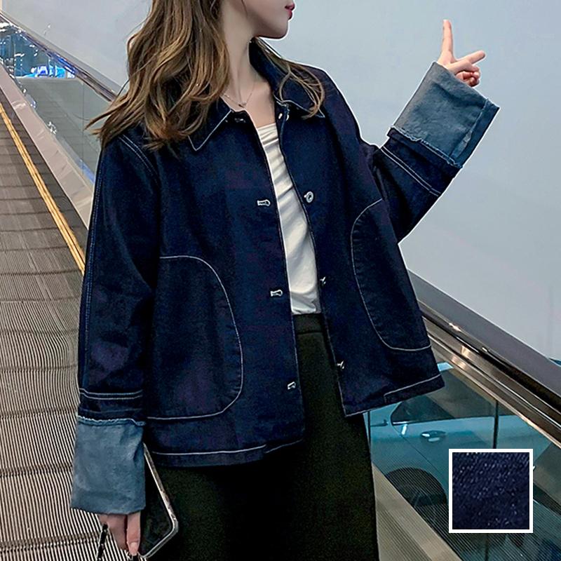 韓国 ファッション アウター ジャケット 春 秋 冬 カジュアル PTXL534  ステッチ オーバーサイズ キレイ目 ジャケット オルチャン シンプル 定番 セレカジの写真1枚目