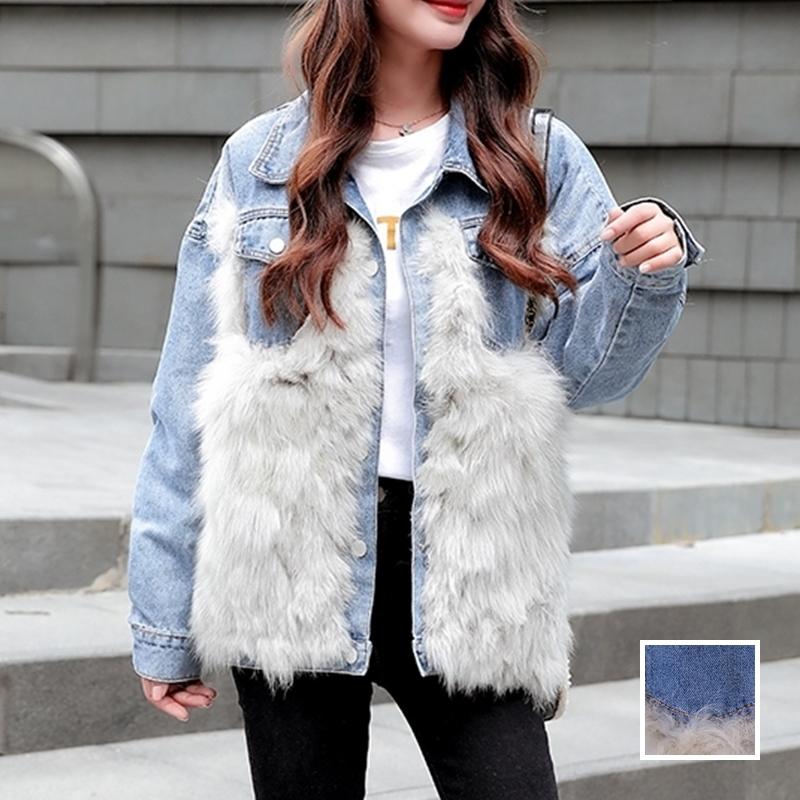 韓国 ファッション アウター ブルゾン 秋 冬 カジュアル PTXL552  デニム エコファー ドッキング オーバーサイズ オルチャン シンプル 定番 セレカジの写真1枚目